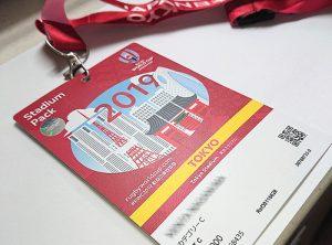 2019ラグビーワールドカップのプラスチック製チケット